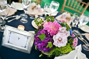 table number with Hydrangeas New Hampshire Mountain Wedding