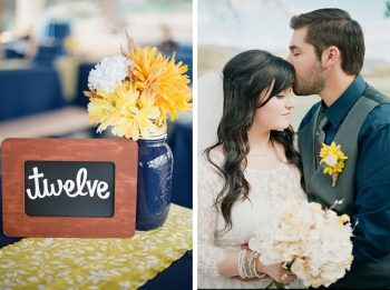 navy mason jars with yellow flowers by Gaby J Photography
