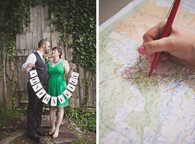 valle crucis elopement just married sign and map