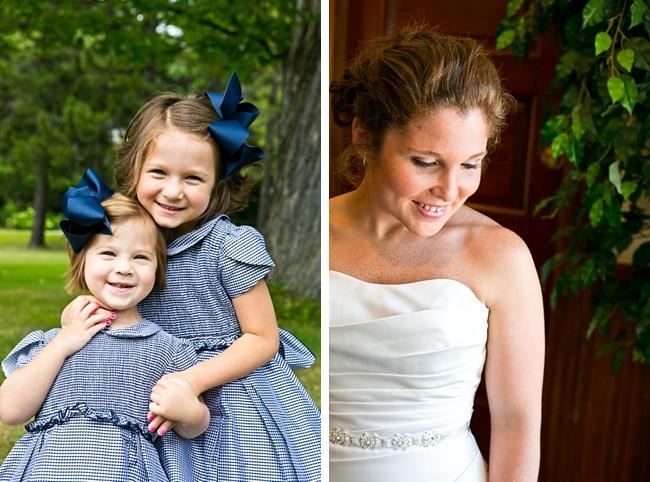 Flower girls in seersucker | New Hampshire Mountain Wedding