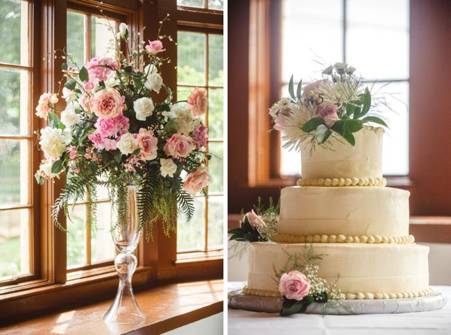 elegant white buttercream wedding cake with rose decor