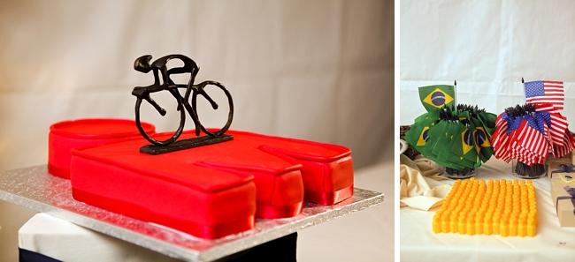 road bike grooms cake and brazillian flags