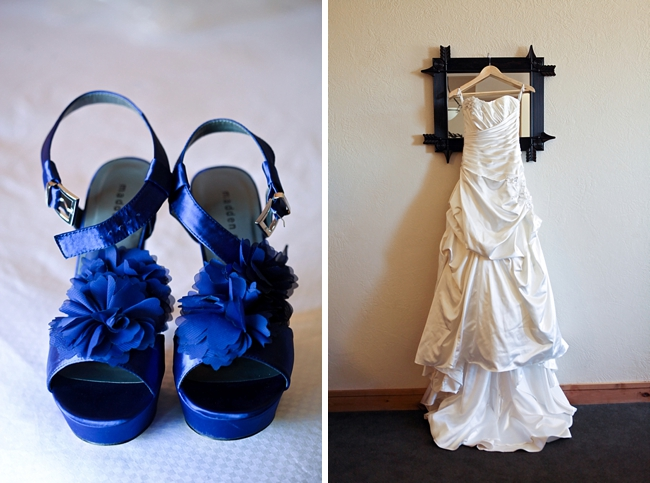 blue wedding shoes with ruffles