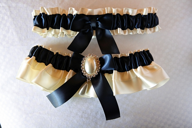 ivory and navy garters