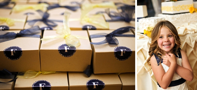 navy and yellow favor boxes