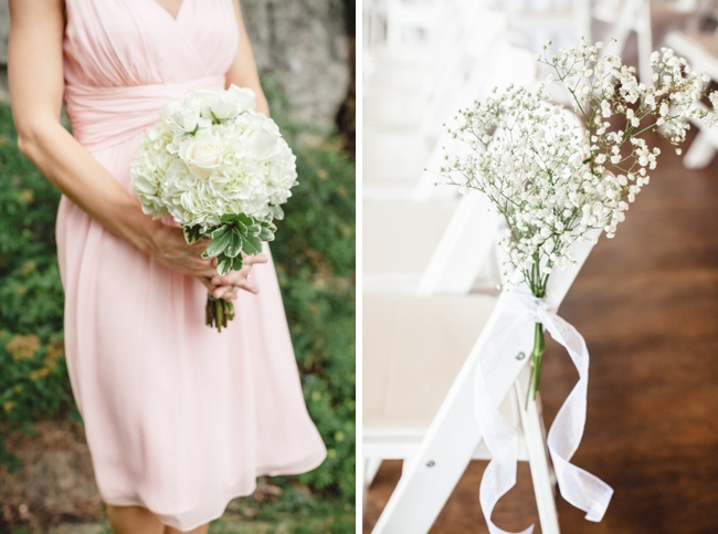 baby's breath pew decorations and white hydrangea bouquets