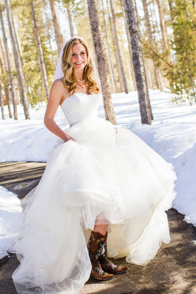 winter bride in painted cowboy boots