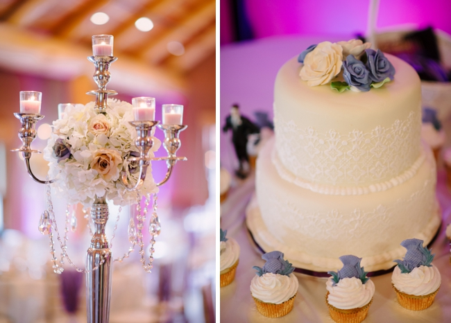 wedding cake with lavender details and candelabra centerpiece