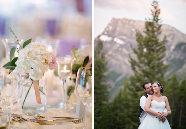 white hydrangea centerpiece and mountain wedding portrait