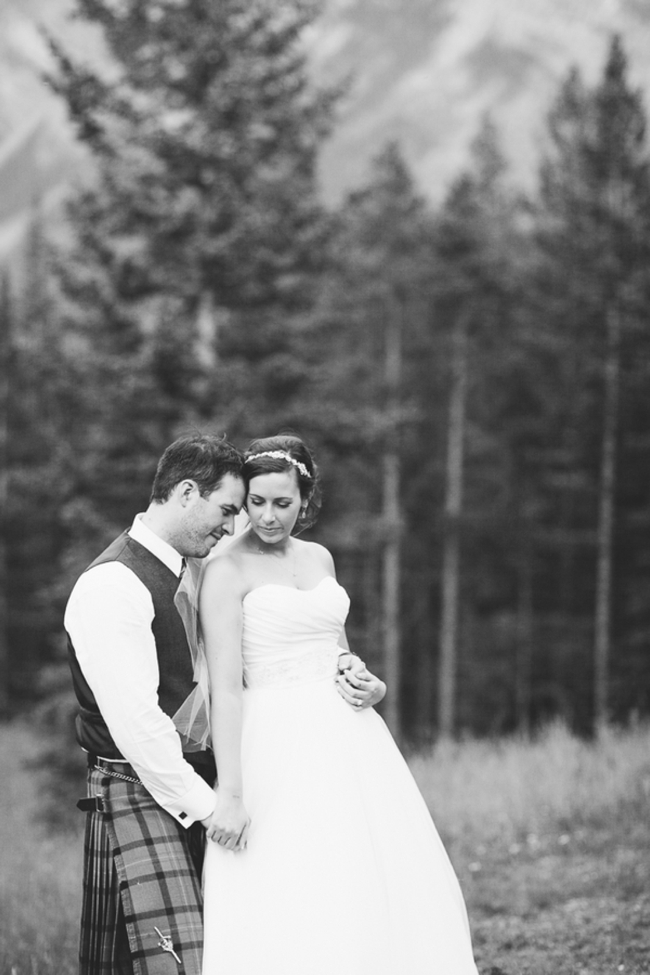 mountain wedding couple black and white portrait