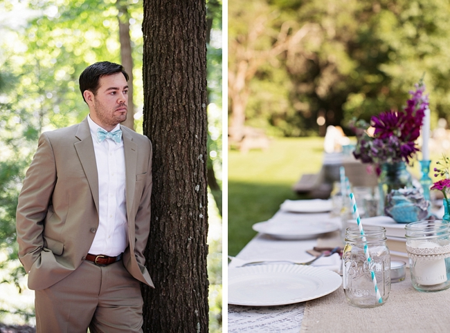 groom and table setting rustic chic wedding via https://mountainsidebride.com