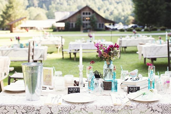 lace tablescape rustic chic wedding via https://mountainsidebride.com