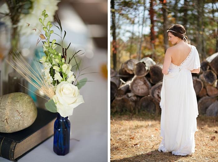 back of greek inspired wedding gown and DIY bud vase arrangement  from https://mountainsidebride.com