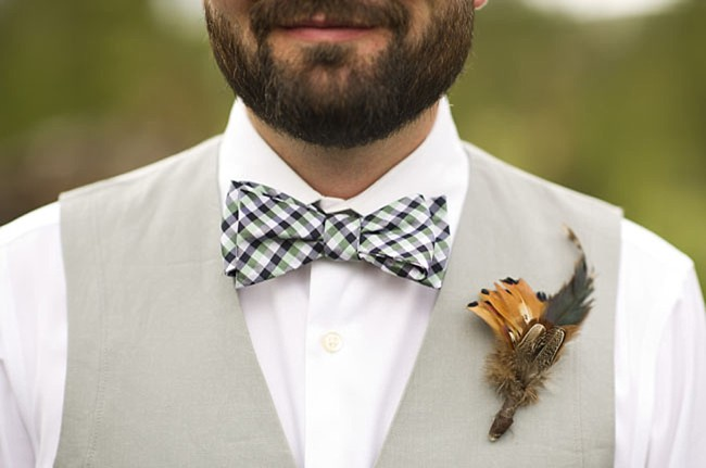 plaid bow tie | casual winter park wedding