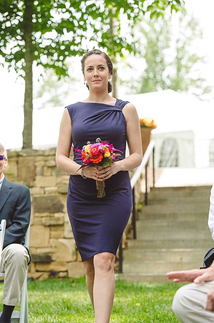 deep purple bridesmaid dress with colorful bouquet via https://mountainsidebride.com