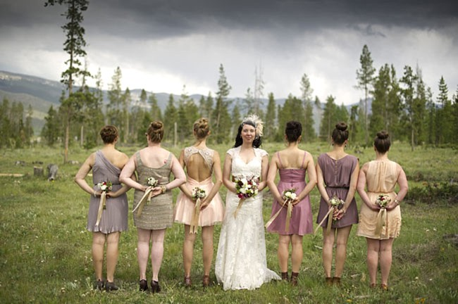 neutral bridesmaids dresses | casual winter park wedding