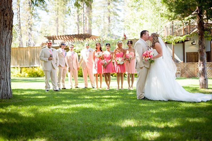 bridal party in romantic pink and peach dresses https://mountainsidebride.com