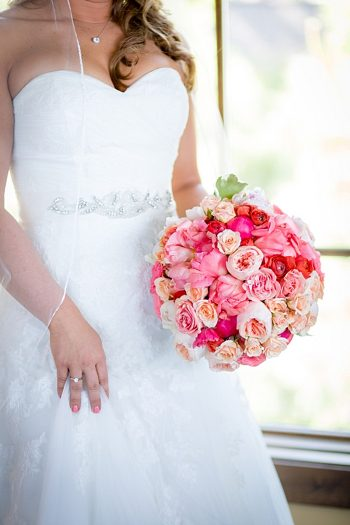 classic round pink and white rose bouquet https://mountainsidebride.com