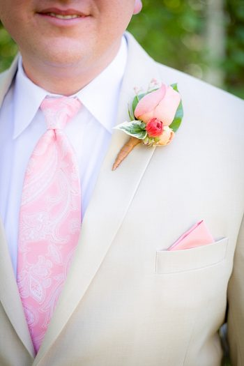 rose boutonniere and pink tie Lake Tahoe via https://mountainsidebride.com