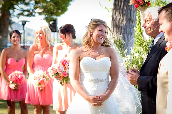 smiling bride at ceremony Tahoe Wedding via https://mountainsidebride.com