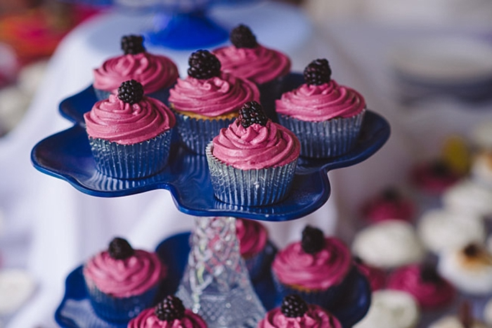 purple and berry wedding cupcakes via https://mountainsidebride.com