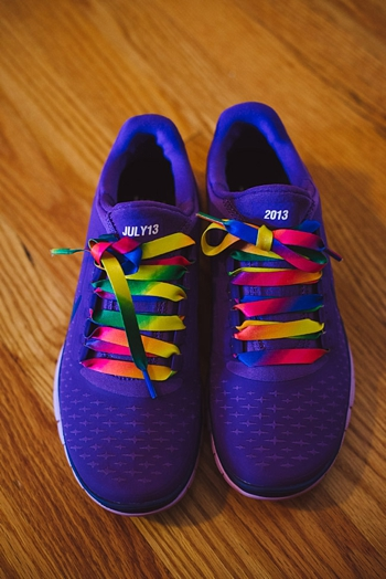 Colorful wedding Nike shoes via https://mountainsidebride.com