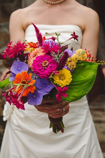colorful bridal bouquet via https://mountainsidebride.com