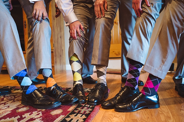 colorful groomsmen's argyle socks via https://mountainsidebride.com