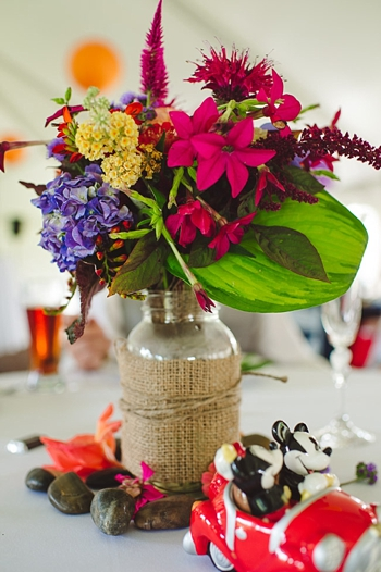 colorful flower and burlap centerpiece via https://mountainsidebride.com