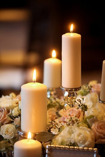 candle lit reception table