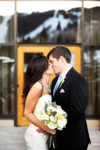 Park City Bride and Groom Kiss