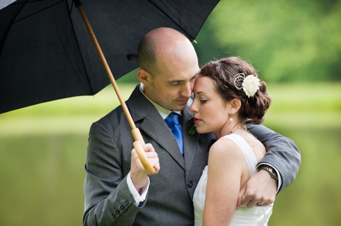 Rainy Day Bride and groom in Western North Carolina