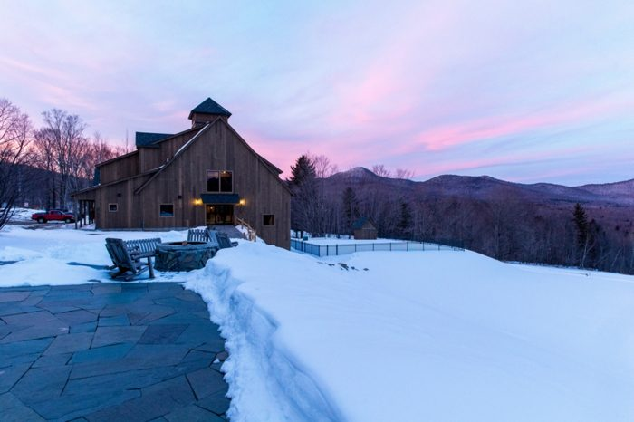 Gorgeous New England Sunset with barn