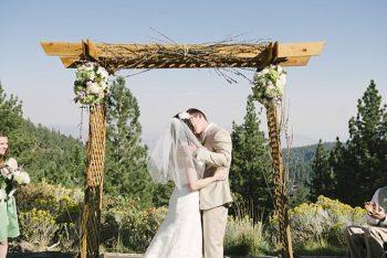 wooden ceremony chuppa - Mount Rose Wedding