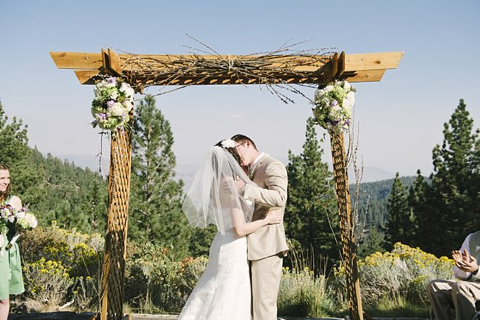 wooden ceremony chuppa - Mount Rose Wedding