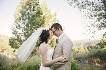 bride and groom kiss - Mount Rose Wedding