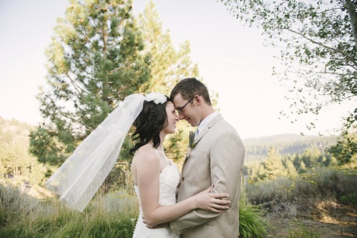 bride and groom kiss - Mount Rose Wedding