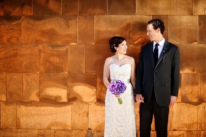 bridal portrait against modern copper wall