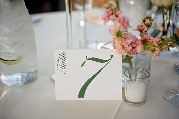 green and white table numbers