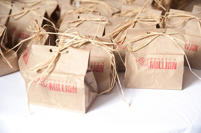 rustic stamped favor bags | Colorado Wedding