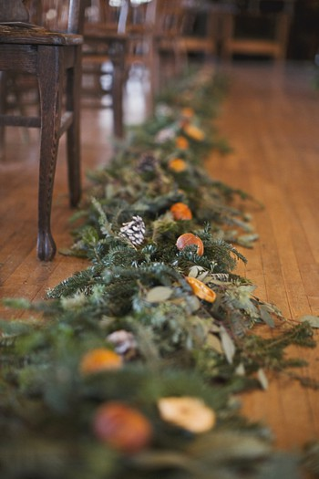 orange and magnolia leaf garland