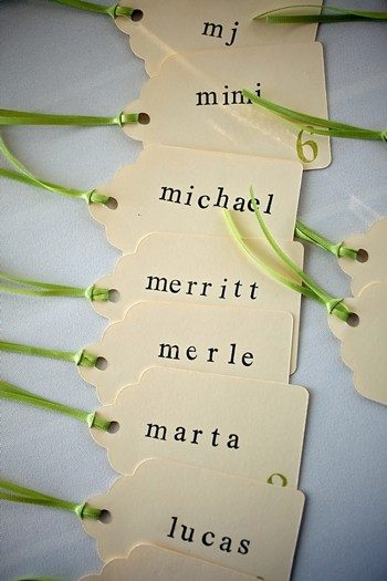 green and white escort tags