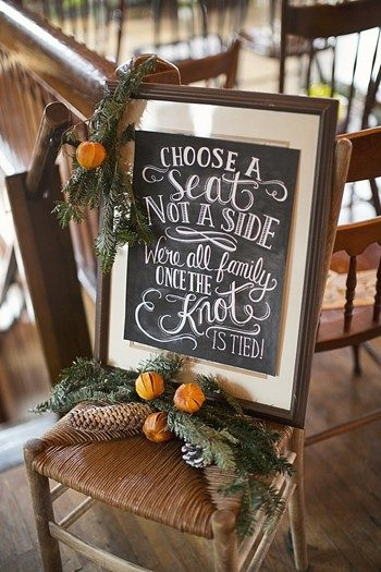 wedding pick a seat not a side chalkboard sign