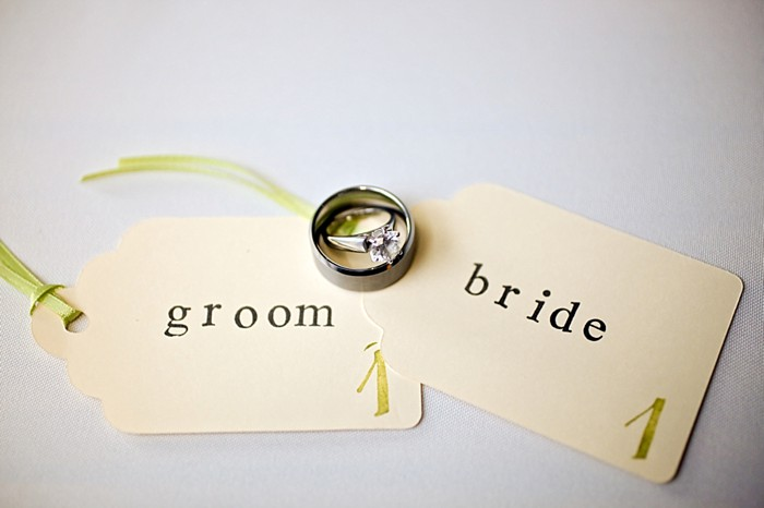 bride and groom escort tags