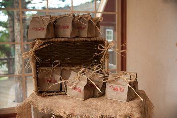 stamped paper bag favors | Colorado Wedding