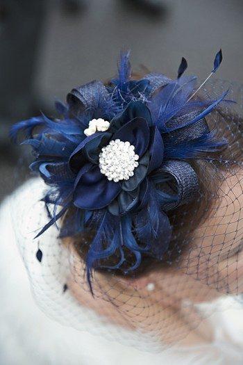 navy blue fascinator