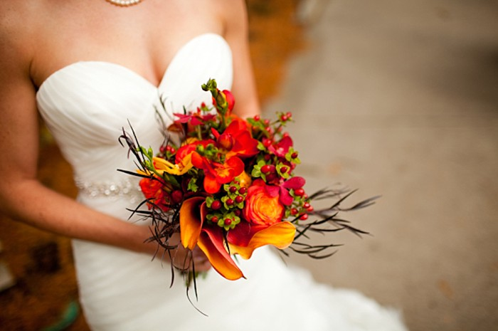 Orange fall inspired Calla lily bouquet