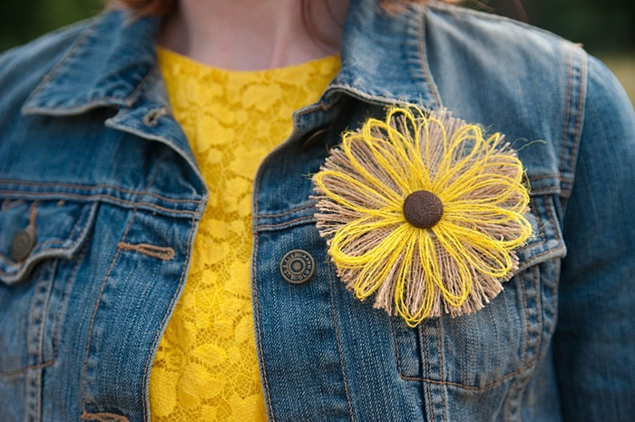 fabric flower sunflower boutonnieer | Colorado Wedding