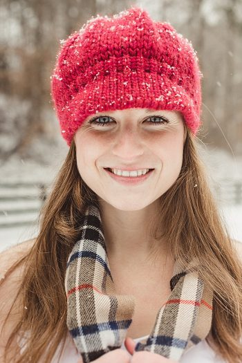 bride in red knit winter hat