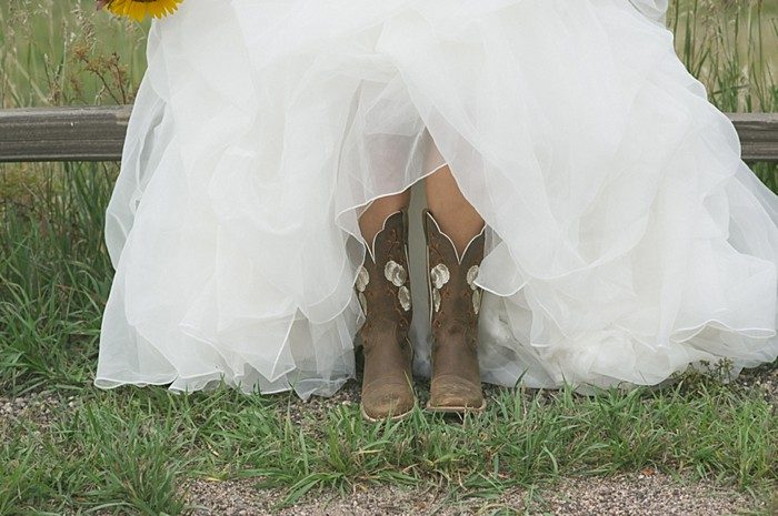 bride in boots | Colorado Wedding